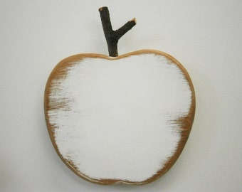 White Painted Wood Apple - Wall Art/Reclaimed Wood Painted White Apple with a Shabby Chic/Rustic distressed finish.