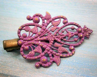 Purple Hand Painted Patina Antique Bronze Scroll & Leaf Filigree Shabby Chic Alligator Hair Clip/Boho Hair Clip/Hair Clip.