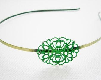Emerald Green Patina Filigree Headband/Hair Accessory/Bridesmaid Gift/Bridal Accessory/Rustic Wedding/Boho Hair Accessory/Headband