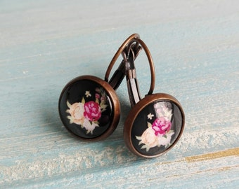 Floral Rose Earrings/Black Floral Earrings/Dangle Earrings/Floral Earrings/Glass Dome Earrings/ Flower Earrings/Bridesmaids Gifts