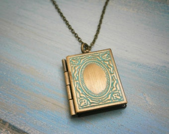 Vintage Style Detailed Antique Bronze Book Locket with Turquoise Patina Detail Necklace/Locket Necklace/Bridal Necklace/Book Locket Necklace