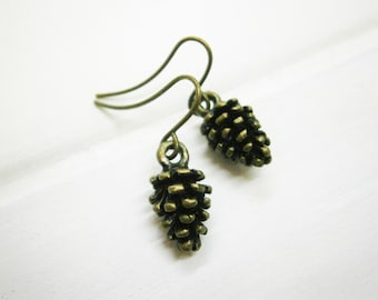 Small Antique Bronze Pinecone Charm On Antique Bronze French Earring Hooks/Nature Inspired Earrings/Woodland Earrings/Nature Jewerly