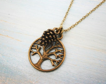 Antique Bronze Filigree Small Round Tree of Life Necklace Charm with Pincone Charm/Boho Necklace/Nature Necklace/Nature Inspired Jewellery