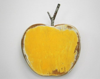 Yellow Painted Wood Apple - Wall Art/Reclaimed Apple with a Shabby Chic/Rustic distressed finish/Home Decor/Rustic Decor/Shabby Chic.