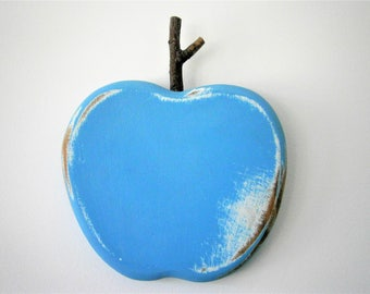 Teal Painted Wood Apple - Wall Art/Reclaimed Wood Painted Teal Apple with a Shabby Chic/Rustic distressed finish.