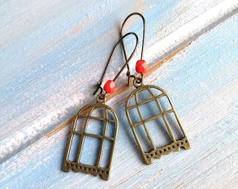 Antique Bronze Bird Cage On Antique Bronze Kidney Wire Earring Hooks/Dangle Earrings/Boho Jewelry/Bird Jewelry/Nature Inspired