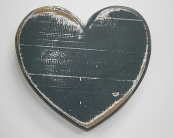 Shabby Chic/Rustic - Love/Adore - Wall Art/Charcoal with touches of White Painted Heart with a distressed Shabby Chic/Rustic finish.