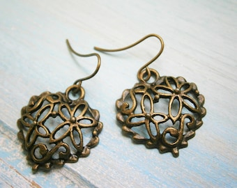 Filigree Heart Antique Bronze Charm On Antique Bronze French Earring Hooks/Dangle Earrings/Boho Earrings/Filigree Heart Earrings/