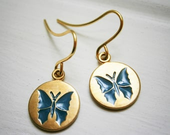 Teal Blue Butterfly Vintage Style Brass Disc Charm Pendant On Gilt Plated French Earring Hooks/Dangle Earrings/Bridal Jewelry/Boho Style