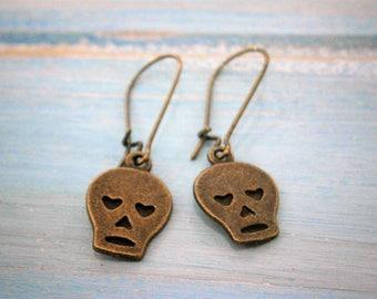 Small Antique Bronze Skull Charm On Antique Bronze Kidney Earwire Hooks/Dangle Earrings/Skull Earrings/Steampunk Jewelry/Sugar Skull Earring