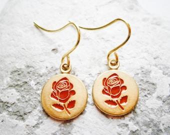 Vintage Style Red Rose Brass Disc Charm Pendant On Gilt Plated French Earring Hooks/Dangle Earrings.