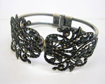 Black Patina Antique Bronze Filigree Cuff Bracelet/Boho Bracelet/Nature Inspired Bracelet/Bridesmaid Bracelet/Shabby Chic Jewelry