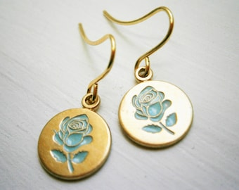 Vintage Style Blue Rose Brass Disc Charm Pendant On Gilt Plated French Earring Hooks/Dangle Earrings/Rose Jewelry/Bridal Jewelry