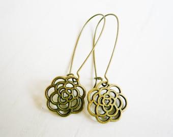 Antique Bronze Filigree Flower On Long Antique Bronze Kidney Wire Earring Hooks/Dangle Earrings/Boho Earrings.
