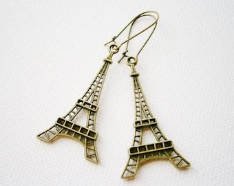 Antique Bronze Eiffel Tower Pendant Long Dangle Earrings/Boho Earrings/Steampunk Earrings/Paris Earrings