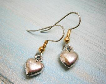 Antique Silver Solid 3D Heart Charm On Stainless Steel French Earring Hooks/Heart Earrings/Romance Earrings/Steampunk Jewerly/Boho Earrings