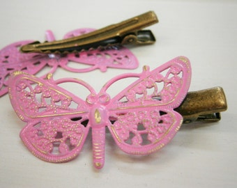 Soft Pink Hand Painted Patina Antique Bronze Butterfly Filigree Shabby Chic Alligator Hair Clip/Boho Hair Clip/Rustic Butterfly Hair Clip.