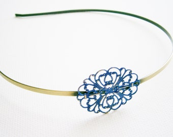 Cobalt Blue Patina Filigree Headband - Hair Accessory, Bridesmaid Gift, Family Pictures, Stocking Stuffer