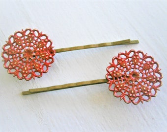 Red Filigree Patina Antique Bronze Bobby Pins Set of Two/Hair Clips/Bohemian Hair Clips/Shabby Chic Hair Clips/Bobby Pins/Boho Bobby Pins