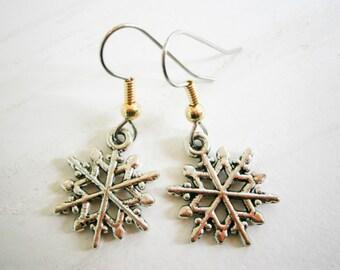 Antique Silver Snowflake Charm on Stainless Steel Earring Hooks/Snowflake Jewelry/Winter Earrings/Hypo Allergenic/Festive Earrings