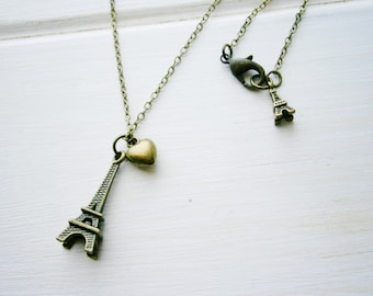 Antique Bronze Small Eiffel Tower Heart Charm Necklace/Boho Necklace/Paris Necklace/Shabby Chic Necklace