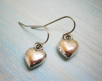 Antique Silver Solid 3D Heart Charm On Stainless Steel French Earring Hooks/Heart Earrings/Romance Earrings/Silver Jewerly/Boho Earrings