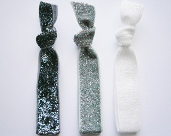 Set of 3 Glitter Hair Tie Package by Crimson Rose Cottage - Charcoal, Silver and White Glitter Hair Ties that Double as Bracelets