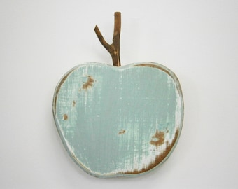 Sage & Mint Painted Wood Apple - Wall Art/Reclaimed Apple with a Shabby Chic/Rustic distressed finish/Home Decor/Rustic Decor/Shabby Chic.