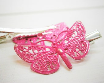 Hot Pink Hand Painted Patina Silver Plated Butterfly Filigree Shabby Chic Alligator Hair Clip/Boho Hair Clip/Rustic Butterfly Clip.