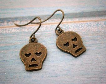 Small Antique Bronze Skull Charm On Antique Bronze French Earring Hooks/Dangle Earrings/Skull Earrings/Steampunk Jewelry/Sugar Skull Earring