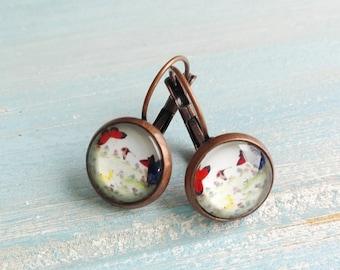 Butterfly Earrings/Nature Earrings/Dangle Earrings/Whimsical Jewelry/Glass Dome Earrings/Lever Back Earrings.