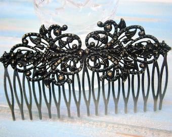 Large Black Patina Filigree Lace Hair Comb - Vintage Inspired/Shabby Chic/Bohemian/Bridesmaids Gifts/Bridal Hair Accessory