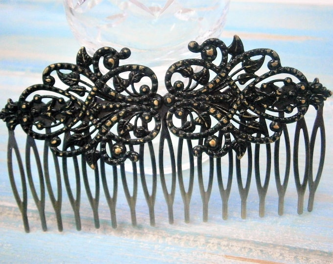 Featured listing image: Large Black Patina Filigree Lace Hair Comb - Vintage Inspired/Shabby Chic/Bohemian/Bridesmaids Gifts/Bridal Hair Accessory