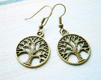 Antique Bronze Tree of Life Charm Dangle Earrings/Boho Earrings/Nature Earrings/Tree Earrings/Dangle Earrings