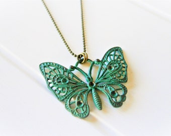 Verdigris/Turquoise Patina Filigree Butterfly on Antique Bronze Ball Chain/Boho Necklace/Long Necklace/Layering Necklace/Patina Necklace.