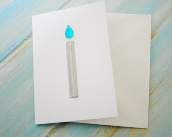 Small Hand Made Gift Card For Any Special Occasion/White Card with 1 Silver Candle with Rhinestone/Gem Flame.
