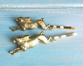 Rabbit Set of Two Hair Pin Gold/Rabbit Bobby Pin/Running Rabbit Hair Pin/Gold Rabbit Hair Clip/Nature Hair Clip/Gold Rabbit Bobby Pin
