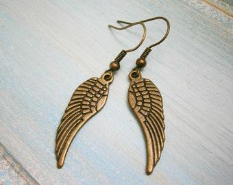 Angel Wing Antique Bronze Charm On Antique Bronze French Earring Hooks/Dangle Earrings/Wing Earrings/Bohemian Jewellery/Boho Earrings