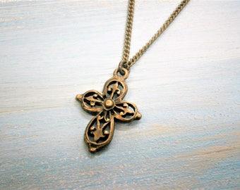Filigree Cross Necklace/Antique Bronze Filigree Cross Long Necklace/Long Necklace/Steampunk Necklace/Layering Necklace/Boho Jewelry.