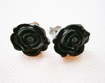 Black 13mm Resin Frilly Rose Flowers set on Stainless Steel Hypo Allergenic Earring Posts/Stud Earrings.