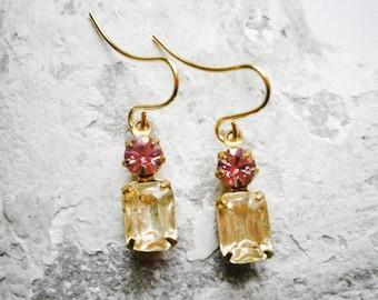Vintage Glass Octagon Stone Jonquil & Swarovski Crystal Light Amethyst set in Brass Setting On Gilt Plated Earring Hooks/Dangle Earrings