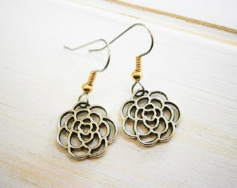 Antique Silver Filigree Flower Charm on Stainless Steel Earring Hooks/Dangle Earrings/Floral Earrings/Nature Earrings/Hypo Allergenic