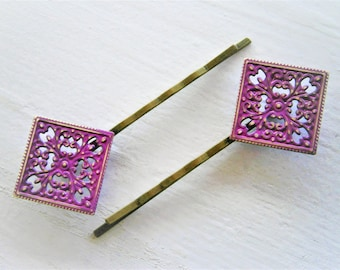 Purple Patina Filigree Antique Bronze Bobby Pins Set of 2/Hair Clips/Bohemian Hair Clip/Shabby Chic Hair Clips/Bobby Pins/Vintage Style