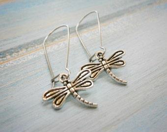 Antique Silver Dragonfly Charm Pendant On Stainless Steel Kidney Wire Earring Hooks/Dangle Earrings.