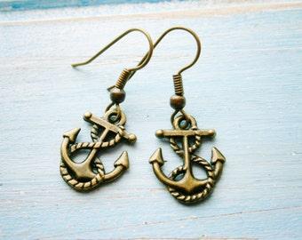 Antique Bronze Mini Anchor Charm Dangle Earrings/Boho Earrings/Nautical Earrings/Sailing Earrings/Sailor Earrings/Boat Earrings