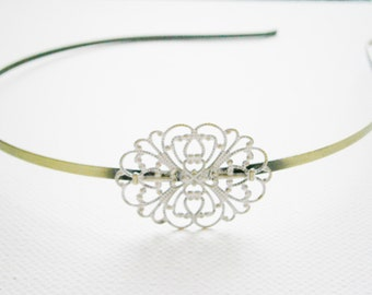 Antique White Patina Filigree Headband - Hair Accessory, Bridesmaid Gift, Family Pictures, Shabby Chic Hair Accessory