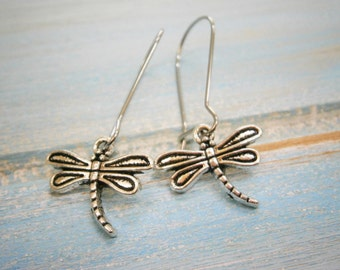Antique Silver Dragonfly Charm Pendant On Stainless Steel Kidney Wire Earring Hooks/Dangle Earrings/Boho Jewelry/Bridesmaid Gift.