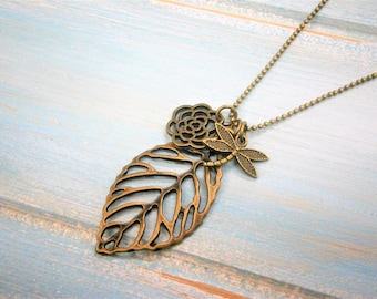 Antique Bronze Filigree Leaf Necklace with Filigree Flower and Small Dragonfly Charms/Boho Necklace/Woodland Jewelry/Nature Inspired