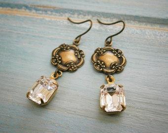 Bohemian Dangle Earrings/Vintage Glass Stone Dangle Earrings/Vintage Style Drop Earrings/Bohemian Jewelry/Boho Jewelry/Vintage Style