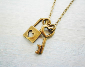 Dainty Antique Bronze Mini Heart Skeleton Key with Mini Lock Heart Charm Necklace/Boho Necklace/Love Necklace/Romance Inspired Jewellery